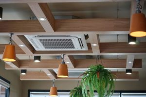 air conditioning vents on office building roof